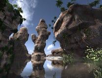 3D que rende a ilha tropical Imagens de Stock