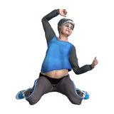 3D que rende a mulher superior que exercita no branco Foto de Stock Royalty Free