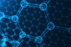 3d que rende a nanotecnologia abstrata, close-up geométrico sextavado de incandescência do formulário, estrutura atômica do graph Imagens de Stock