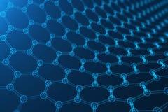 3d que rende a nanotecnologia abstrata, close-up geométrico sextavado de incandescência do formulário, estrutura atômica do graph Imagens de Stock Royalty Free
