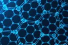 3d que rende a nanotecnologia abstrata, close-up geométrico sextavado de incandescência do formulário, estrutura atômica do graph Imagem de Stock