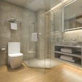 3d que rende o banheiro de madeira luxuoso moderno no hotel da série Fotografia de Stock Royalty Free
