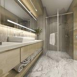 3d que rende o banheiro de madeira luxuoso moderno no hotel da série Imagem de Stock Royalty Free