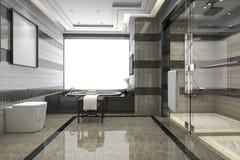 3d que rende o banheiro moderno preto do sótão com a decoração luxuosa da telha imagens de stock