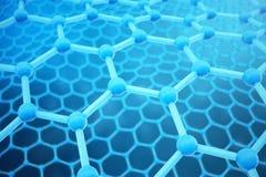 3D que rende o close-up geométrico sextavado do formulário da nanotecnologia abstrata Conceito da estrutura atômica de Graphene,  ilustração do vetor