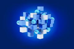 3d que rende o cubo azul e branco em um fundo da cor Imagens de Stock Royalty Free