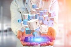 3d que rende o cubo azul e branco em uma relação futurista Fotos de Stock Royalty Free