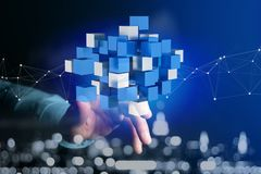 3d que rende o cubo azul e branco em uma relação futurista Imagem de Stock Royalty Free