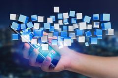 3d que rende o cubo azul e branco em uma relação futurista Fotos de Stock