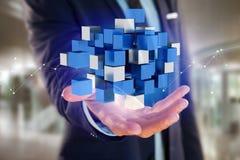 3d que rende o cubo azul e branco em uma relação futurista Fotografia de Stock Royalty Free