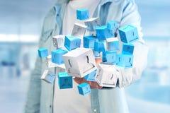 3d que rende o cubo azul e branco em uma relação futurista Fotografia de Stock