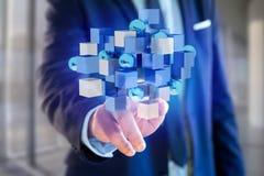 3d que rende o cubo azul e branco em uma relação futurista Imagens de Stock Royalty Free