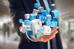 3d que rende o cubo azul e branco em uma relação futurista Imagens de Stock