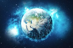 3D que rende o fundo da rede global Linhas da conexão com Dots Around Earth Globe Conectividade internacional global Fotos de Stock