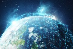 3D que rende o fundo da rede global Linhas da conexão com Dots Around Earth Globe Conectividade internacional global Fotografia de Stock Royalty Free