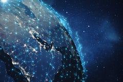 3D que rende o fundo da rede global Linhas da conexão com Dots Around Earth Globe Conectividade internacional global Fotografia de Stock