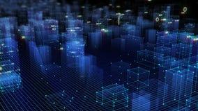 3D que rende o fundo digital tecnologico que consiste em uma cidade futurista com dados fotografia de stock royalty free