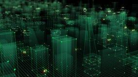 3D que rende o fundo digital tecnologico que consiste em uma cidade futurista com dados imagens de stock royalty free