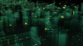 3D que rende o fundo digital tecnologico que consiste em uma cidade futurista com dados imagens de stock