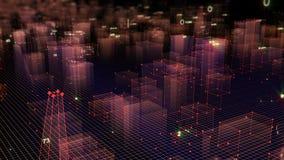 3D que rende o fundo digital tecnologico que consiste em uma cidade futurista com dados ilustração stock