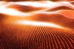 3d que rende o fundo poligonal abstrato da onda com pontos e linhas de conexão Estrutura da conexão Computador HUD fluxo Fotografia de Stock Royalty Free