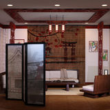 3D que rende o interior home japonês Imagens de Stock