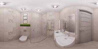 3d que rende o panorama sem emenda do interior do banheiro Imagem de Stock Royalty Free