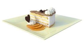 3D que rende o pedaço de bolo no branco Fotografia de Stock Royalty Free