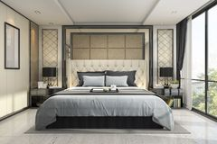 3d que rende o quarto clássico luxuoso moderno com decoração de mármore Imagem de Stock Royalty Free