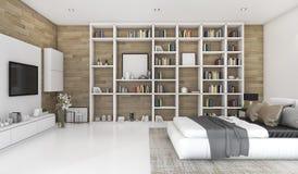 3d que rende o quarto de madeira contemporâneo com construído na estante Foto de Stock Royalty Free