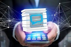 3D que rende o símbolo azul do email indicado em um cubo cortado Foto de Stock Royalty Free