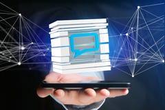 3D que rende o símbolo azul do email indicado em um cubo cortado Imagens de Stock
