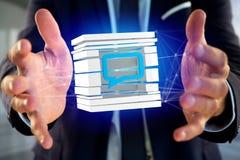 3D que rende o símbolo azul do email indicado em um cubo cortado Imagens de Stock Royalty Free