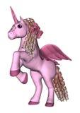 3D que rende o unicórnio cor-de-rosa no branco Foto de Stock