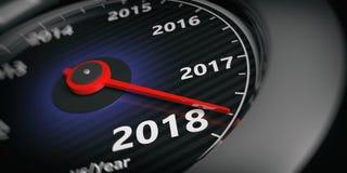 3d que rende o velocímetro 2018 do carro do ano novo ilustração stock