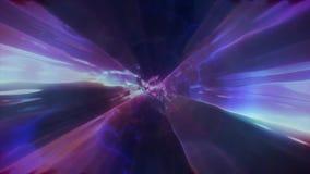 3D que rende o voo a uma outra dimensão através de um wormhole em tempo e em espaço Túnel brilhante, alta-tensão e da alto-tecnol ilustração stock