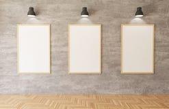3d que rende os cartazes brancos e os quadros que penduram no fundo do muro de cimento na sala, luzes, assoalho de madeira ilustração do vetor
