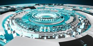 3D que rende a relação digital do azul da tecnologia ilustração royalty free