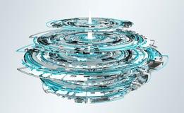 3D que rende a relação digital do azul da tecnologia Imagens de Stock Royalty Free