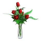 3D que rende rosas vermelhas no branco Imagem de Stock Royalty Free