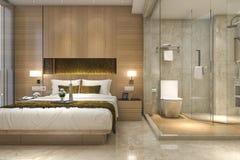 3d que rende a série e o banheiro luxuosos modernos de quarto Fotos de Stock Royalty Free