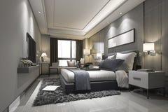 3d que rende a série e o banheiro luxuosos modernos de quarto Imagem de Stock Royalty Free