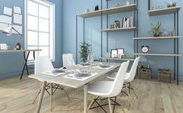 3d que rende a sala de jantar azul agradável com ideia da prateleira fotografia de stock