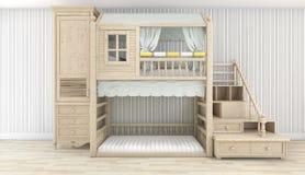 3d que rende a sala de madeira agradável branca da criança Imagens de Stock