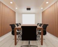 3D que rende a sala de reunião com cadeiras, tabela de madeira, trocista acima, espaço da cópia imagem de stock royalty free