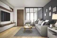 3d que rende a sala de visitas e o quarto de madeira mínimos modernos no apartamento Fotos de Stock Royalty Free