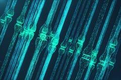 3D que rende a sinapse de incandescência azul Neurônio artificial no conceito da inteligência artificial Linhas de transmissão Sy Fotografia de Stock Royalty Free