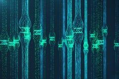 3D que rende a sinapse de incandescência azul Neurônio artificial no conceito da inteligência artificial Linhas de transmissão Sy Imagem de Stock