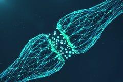 3D que rende a sinapse de incandescência azul Neurônio artificial no conceito da inteligência artificial Linhas de transmissão Sy Foto de Stock