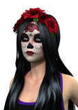 3D que rende Sugar Skull Girl no branco Imagem de Stock Royalty Free